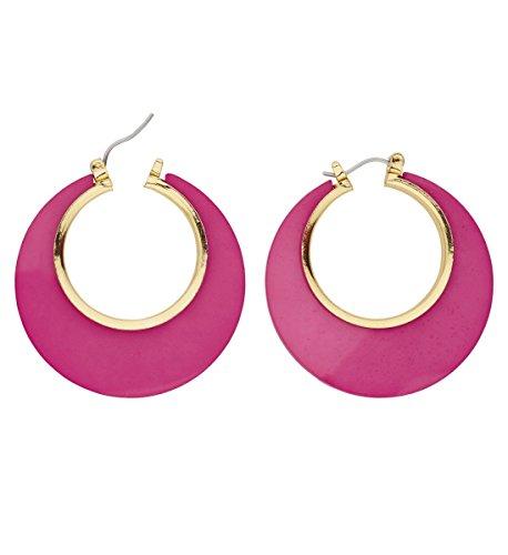 Panelize 80er Jahre Creolen Ohrringe in pink achtziger Modeschmuck neon-pink
