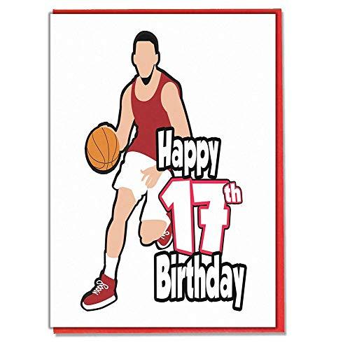 Basketball Geburtstagskarte zum 17. Geburtstag, für Teenager und Mädchen, Jungen, Sohn, Enkel, Tochter, Enkelin, Freund.