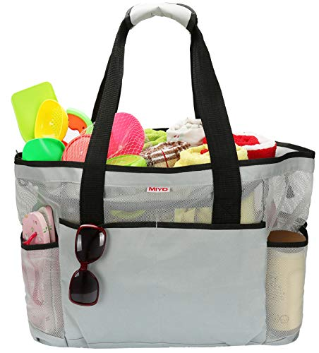 Mesh Beach Bag -Extra Large Beach Tote Bag - Grocery & Picnic Tote Travel Bags Grey