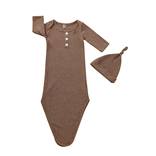Baby Gown Newborn Nightgown Long Sleeve Soft Sleeping Bag and Hat Unisex Baby Coming Home 2 Piece Outfits Set