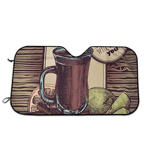 Olive Croft Vino Caliente Protector para Parabrisas, Protector de Parabrisas Protección UV, Antihielo y Nieve Funda 130 X 70 cm