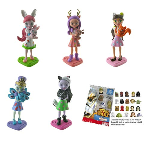 Lote 5 Figuras Comansi Enchantimals - Bree Bunny - Danessa Deer - Felicity Fox - Patter Peacock -Sage Skunk + Regalo