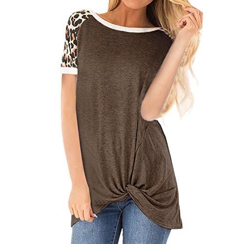 Tops con Estampado de Leopardo para Mujer Camiseta con Cuello Redondo básica Informal de Verano Camiseta de Camisetas raglán Blusas Sueltas Túnica con Bloques de Color Cuello Redondo a Rayas cómodas