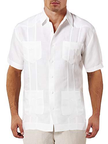 Gemijacka Leinenhemd Herren mit Front-Tasche Kurzarm Guayabera Hemd Herren mit Stehkragen Cuban Sommerhemd Herren Kurzarmshirt für Männer