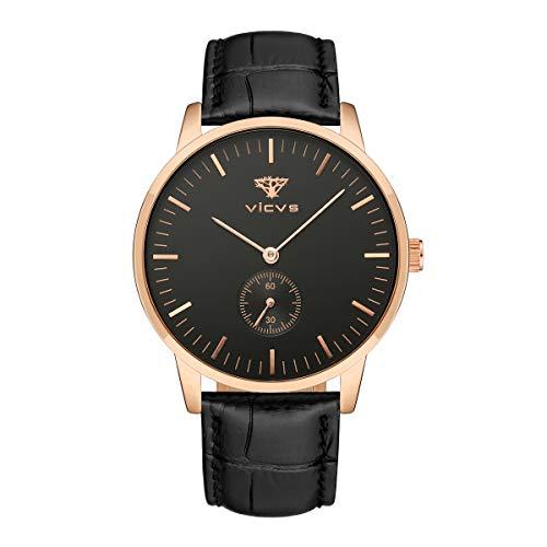 VICVS Reloj de Moda para Hombre/Mujer Reloj de Cuarzo Impermeable Informal Formal (Rose Gold Male-1)