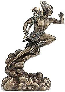 XoticBrands Hermes Running with Caduceus - Myth & Legend - Cold Cast Bronze Sculpture
