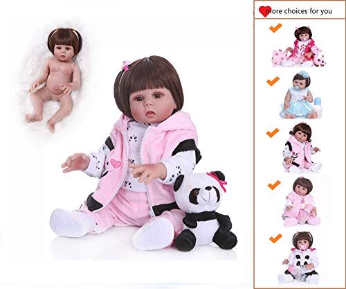 Binxing Toys Icradle Reborn Baby Dolls Silicone Full Body Girl,18 Inches 45cm Alive Baby Doll Anatomically Correct Girl, Real Bebe Doll for Girl As Xmas Gift (Silicone Full Body)
