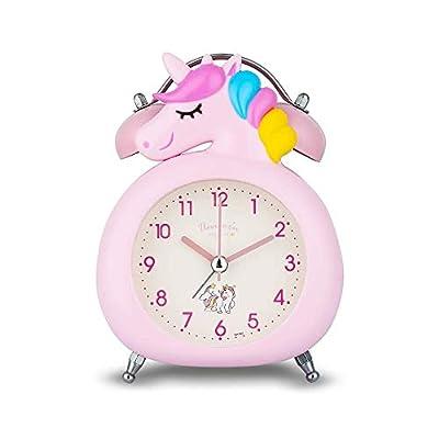 Reloj despertador para niñas, silencioso, con luz nocturna y alarma fuerte, fácil de configurar y funciona con pilas, bonito unicornio doble campana decorativa para niñas, estudiantes dormitorio rosa