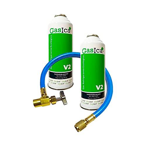 Todoelectrico Pack 2 Botellas Gas refrigerante orgánico V2 Sustituto R22/R407 R410A más Manguera de Servicio con Llave para Recarga Aire Acondicionado 1/2-1/4