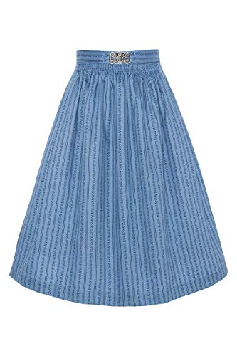 Mia san Tracht. Damen Dirndl-Schürze 65cm mit Broschen-Schließe Salzburger Blau, 9075/80-SALZBURGER/MARINE, XL