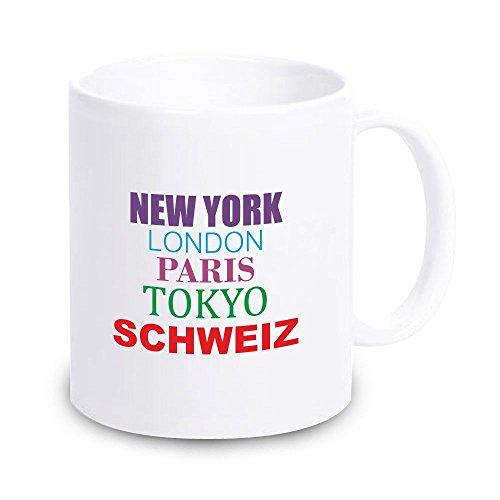 4you Design weiße Tasse New York, London, Paris, Tokyo, Schweiz Kaffeetasse, Kaffeebecher, Geschenkidee, Geburtstagsgeschenk, Geburtstag, Mitbringsel, Andenken, Gastgeschenk, Schweiz