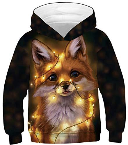 Ocean Plus Jungen Hoodie Tierdruck Kapuzenpulli mit Aufdruck Kapuzenpullover Kinder Sweatshirt Hooded Sweat (L (Körpergröße: 145-150cm), Leuchtender Kleiner Fuchs)