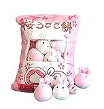Nenalayo Cute Throw Pillow Stuffed Animal Toys Removable Fluffy Bunnies Creative Gifts for Teens Girls Kids