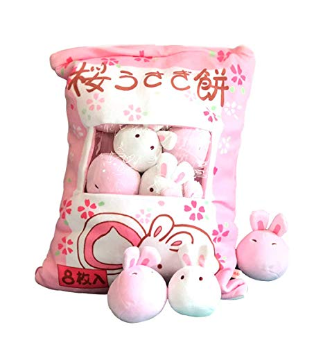 Cute Throw Pillow Stuffed Animal Toys Removable Fluffy Bunnies Creative Gifts for Teens Girls Kids