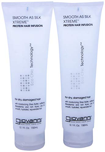 GIOVANNI Smooth As Silk Xtreme Protein Hair Infusion, 5.1 oz. Deep Moisturizing and Frizz Calming Hair Infusion Treatment, Revitalizes Coarse & Over-Processed Hair, Paraben Free (Pack of 2)