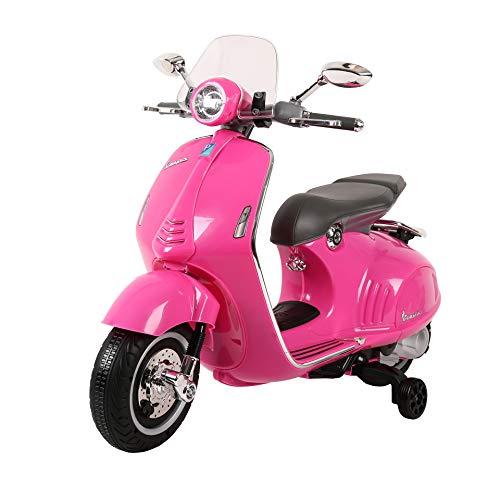 Babycar Vespa Piaggio Moto per Bambini 946 (Rosa) con MP3 LUCI E Suoni Ufficiale con Licenza