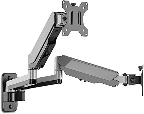 AVLT-Power Dual 32' Monitor Wall Mount - Mounts Two 17.6 lbs Computer Monitors on 2 Full Motion Adjustable Arms - Organize Your Work Surface with Ergonomic Viewing Angle VESA Monitor Mount
