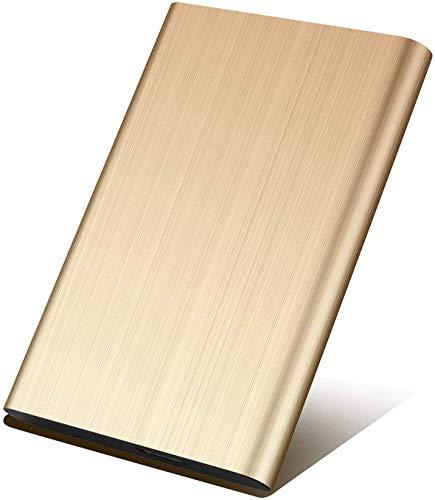 Disco rigido esterno da 2 TB, disco rigido esterno portatile, per PC, computer portatile e Mac (2TB, Gold)