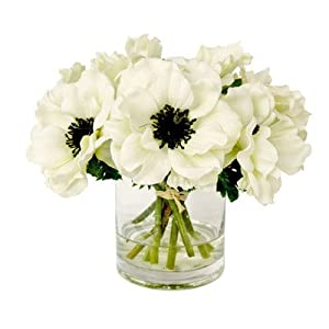 White Anemone Short Bouquet in Glass Vase - Real Flower Gift for Sale