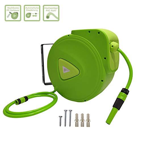 Froadp Automatisch 180° Schwenkbare Schlauchtrommel Mobil Schlauchbox 3/4' Anschluss Schlauch Aufroller mit Schlauchstopp und Schnell-Verschlusskupplung für Garten Camping (20m)