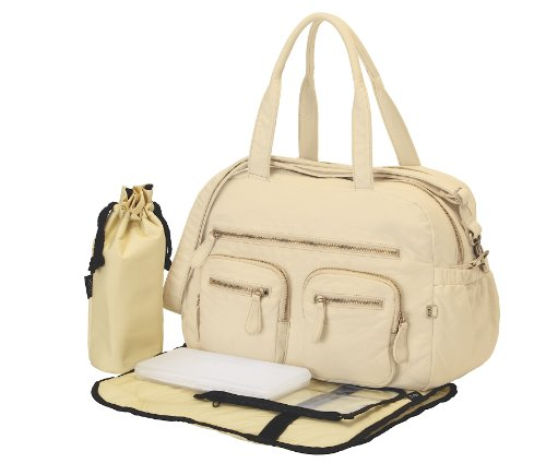OiOi Faux Lizard Carryall Diaper Bag, Almond