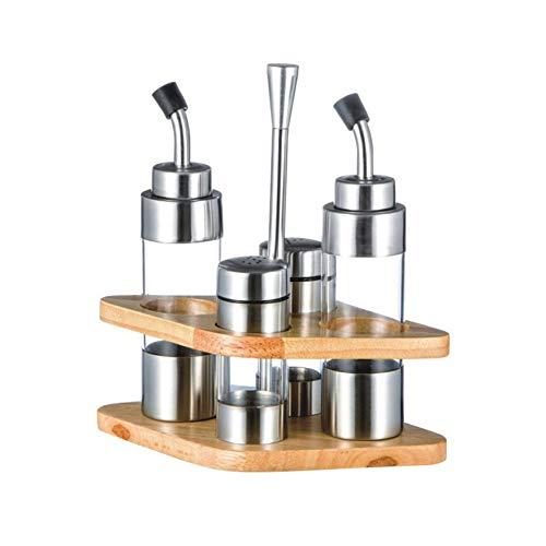Dispenser di aceto di Olio da Cucina in Acciaio Inossidabile Dispenser per Bottiglie Shaker Salsa Conservazione Utensili da Cucina con Base in Legno rombo - Argento