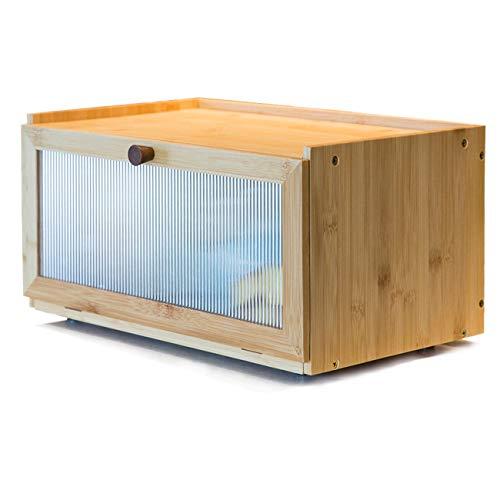 AINILE Boîte à pain en bambou élégante 40 x 25 x 20 cm
