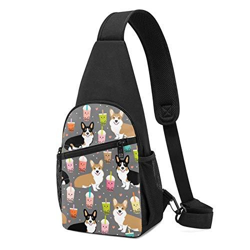 Sling Bag für Herren Anti-Diebstahl Schulterrucksack Leichte Crossbody Outdoor & Gym, - Welsh Corgi Dogs Saft Kaffee Schwarz - Größe: Einheitsgröße