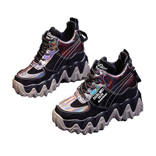 Zapatillas Gruesas para Mujer, Zapatos de Plataforma de Moda al Aire Libre, cuñas para Mujer, tacón Alto, 7 cm, Zapatos Deportivos Informales de Cuero con Cordones, cómodos