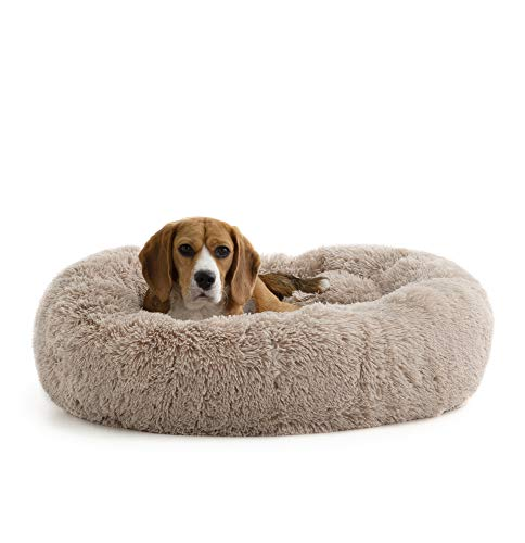 Brindle DonutCuddlerPetBed- PlushDog and Cat Bed - Cozy Shag Faux Fur-Ergonomic Design -Head and Neck Support, Taupe, Medium