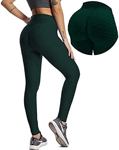 YOFIT Womens Sexy Ruched Butt Push Up High Waist Training Sport Stockings Yoga Pants Green M