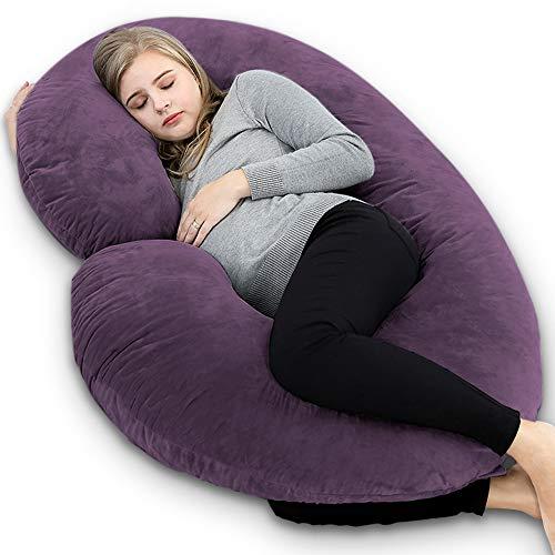 INSEN Pregnancy Body Pillow,Full Body Pillow,C Shaped Full Body Pillow with Velvet Cover (Dark...