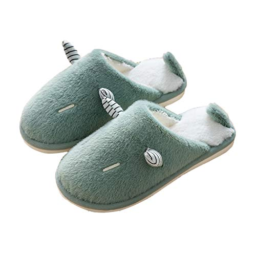Cotton Slippers with Horns, Ladies' Cozy Memory Foam Slippers with Warm Fuzzy Faux Fur Lining, House Shoes with Indoor/Outdoor Anti-Skid,Green,39/40 EU