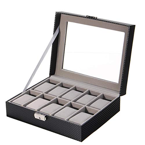 xingxing Aufbewahrung & Organisation Leder Uhr Schmuck Display Aufbewahrung Halter Fall 10 Gitter Box Desktop Organizer