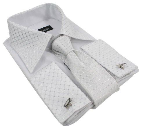 Hommes Bouton shirt Tie Cuff Link & Hankie Blanc Argent Trim Design Brillant, Blanc - blanc, X-Large