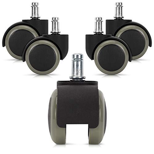 kwmobile Navaris Ruedas para Silla de Oficina de 10 MM - Set de 5 Ruedas de 50 MM de diámetro - Ruedas de Repuesto giratorias de plástico Duro - Gris