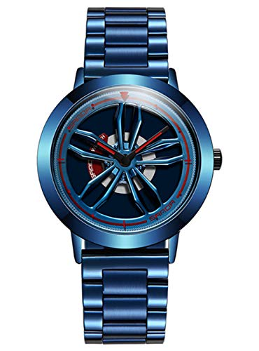 MLHXHX Reloj de tiempo impermeable de moda estudiante reloj deportivo de negocios hombres reloj de malla correa de cuarzo azul