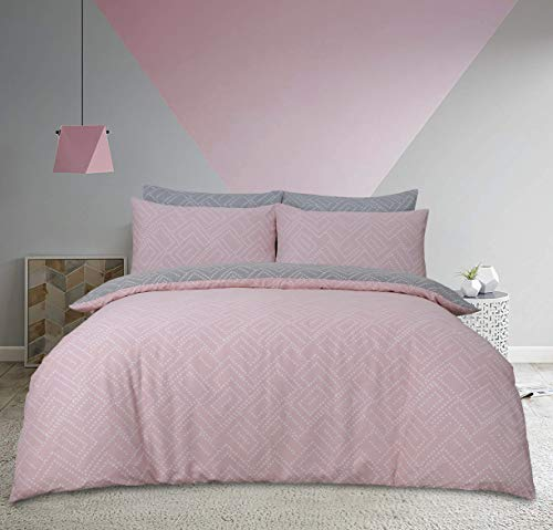 Sleepdown Square Dot Geo Pink Reversible Soft Duvet Cover Quilt And Bedding Set With Pillowcases - Double (200cm x 200cm)