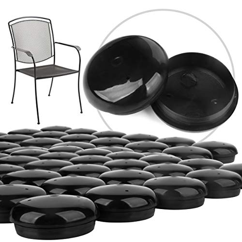"32 Pack of 1.5"" Patio Furniture Glides/Feet/Caps for Wrought Iron Outdoor Furniture – Protect Your Floor Surfaces from Scratches, Replacement for Eight Chairs (with 4 Legs), Easy to Install Impresa"
