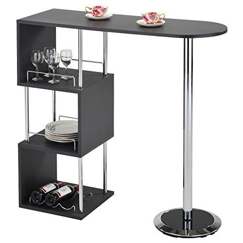 IDIMEX Table Haute de Bar VIGANDO Mange-Debout comptoir avec 3 étagères Dont 1 avec Porte-Bouteilles, Structure en métal chromé et Plateau en MDF décor Gris Mat