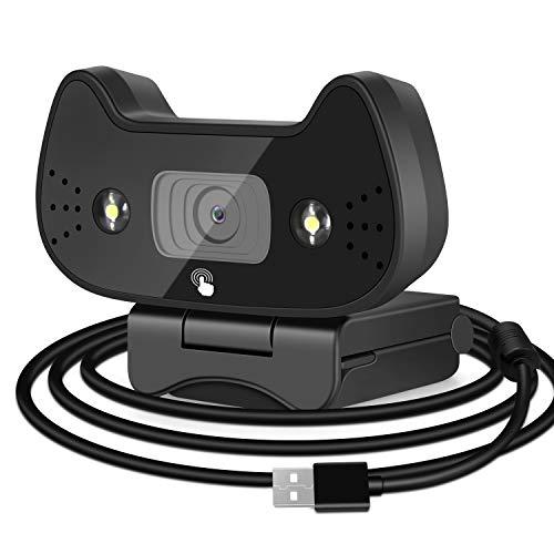 Webcam 1080P con Micrófono Estéreo,Luces de Relleno Ajustables,Cute Cat USB Webcam sin Diver, para Conferencias En línea,Lecciones,Juegos,Video Chat,Compatible con Windows,Mac y Android