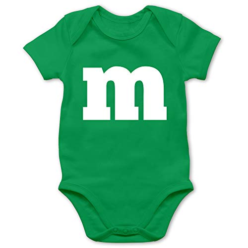 Shirtracer Karneval und Fasching Baby - Gruppen-Kostüm m Aufdruck - 1/3 Monate - Grün - Baby Karneval kostüm Junge m und m - BZ10 - Baby Body Kurzarm für Jungen und Mädchen