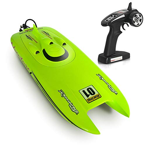ACOC RC Boat, High Speed Remote Control Boat,Mini RC Speedboat, 2.4Ghz 4CH Electric Racing Boat for Pools and Lakes, Built-in Water Cooling System Kids Boat Toy, Battery Powered