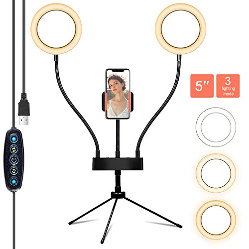 """Selfie Ring Light with Tripod Stand & Cell Phone Holder 5"""" Double Desk Ring Light for Makeup/YouTube Video/Photography with 3 Modes and 5 Brightness"""