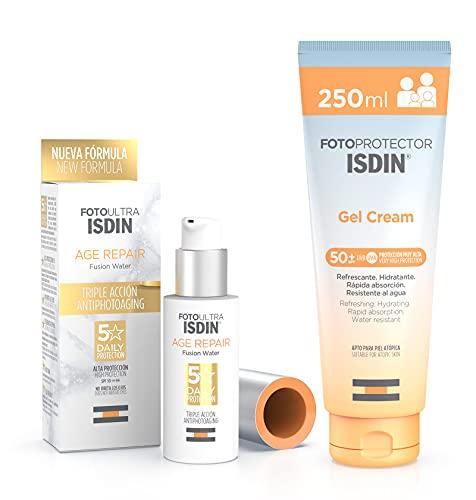 ISDIN PACK Protector Solar Corporal Gel Crema SPF 50+, Protector Solar Facial Age repair SPF 50