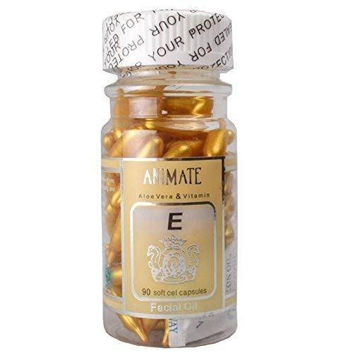 ANIMATE Aloe Vera And Vitamin E Capsules Facial Oil, 90 Soft Gel Capsules