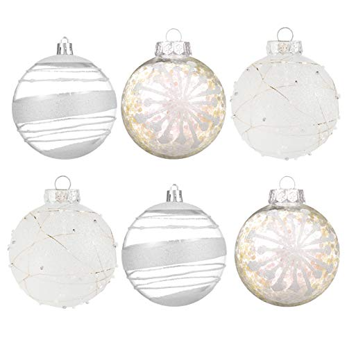 Christmas Ball Ornaments80mm/3.15' - Shatterproof Clear Pastic Ball Christmas Tree Decoration Delicate Hanging Ornaments for Xmas Party (6 Counts, White)