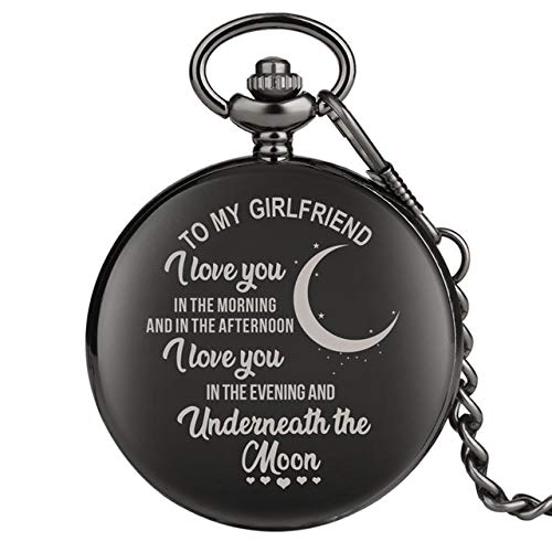 GIPOTIL Reloj de Bolsillo Palabras de Saludo grabadas I Love You de Cuarzo Reloj de Cadena Regalo Recuerdo Cumpleaños Regalos Familiares para papá Mamá Hijo Hija, para mi Novia