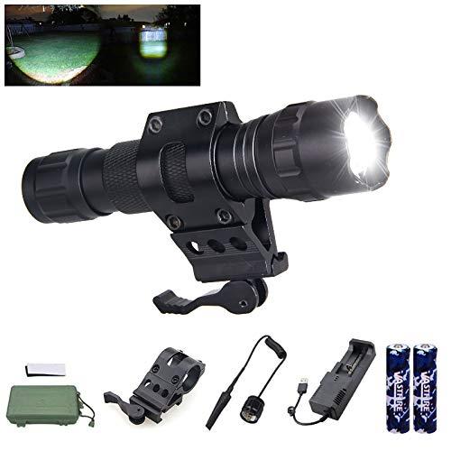 vastfire 350Yard Zoomable Foco a inundaciones blanco Kit de luz de mano linterna con 18650Cargador de batería interruptor de presión y ferrocarril Rifle montura para riel Picatinny Ar
