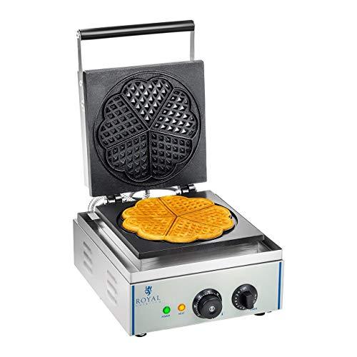 Royal Catering RCWM-1500-H Waffeleisen Waffelgerät Waffelautomat Waffle Maker (herzförmig, 1.500 W, Ø 21 cm, 15 min Timer, Teflon, Edelstahlgehäuse)